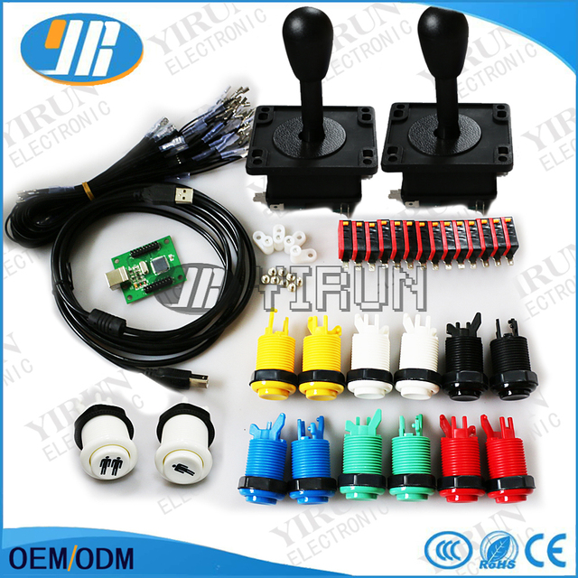 Classic Arcade game parts Bundles kit American Joystick microswitch button  2 players USB to jamma/PC board to DIY Arcade Machine-in Coin Operated