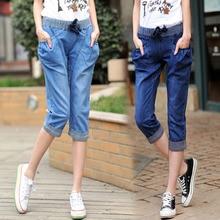Большие размеры женские 200 кг высокоэластичные джинсы летние Стрейчевые укороченные брюки одноцветное свободное платье 4XL шорты Mujer TrousersMZ2453