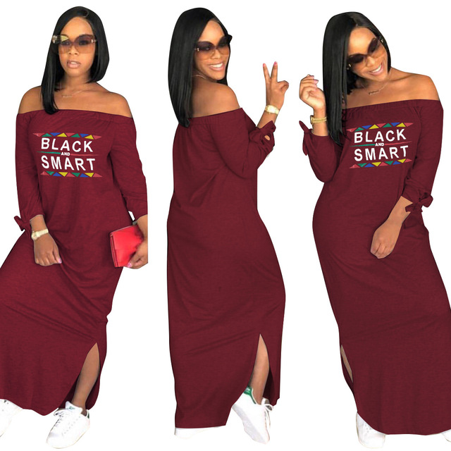 7201261a4b3 New Women Dresses Sexy Split Long Sleeve Letter Black Smart Slash Neck  Loose Long Design Off