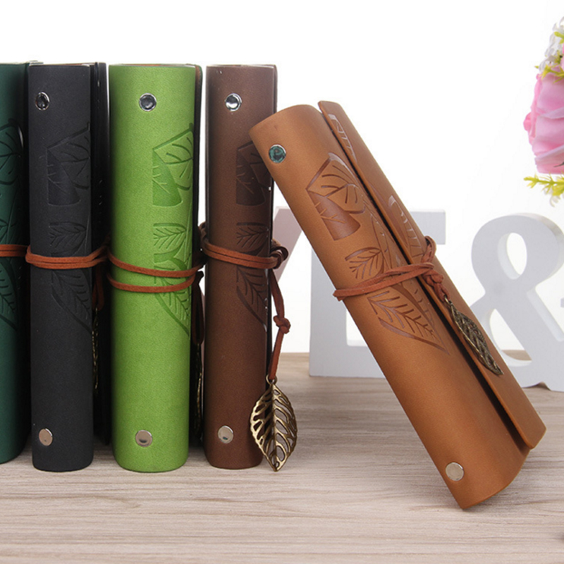 M Vintage Leaf Leather Travel Diary en blanco Kraft Diary Planner - Blocs de notas y cuadernos