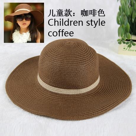 [EXILIENS] 2017 New Fashion Summer Brand Children's Sun Hats Girl Cap Beach Straw Pendant Top Kid Big Brim Shade Sunscreen Girls
