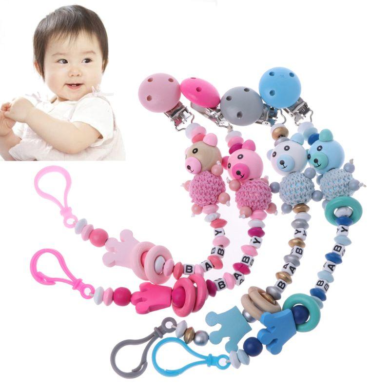 Baby Pacifier Clip Chain Infant Boys Girls Cute Cartoon Bear Letters Toys Teether Pacifier Chain Holder Baby Nipple Feeding