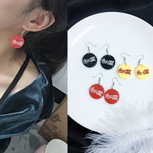 Korean disco personality 3 color earrings beer bottle cap circle exaggerated earrings for women e46