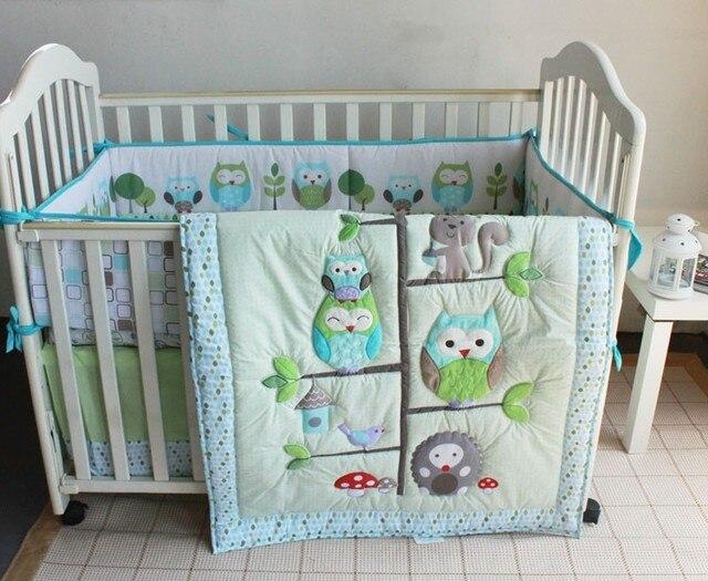 7 pcs hibou de bande dessinee bebe ensemble de literie linge de lit filles