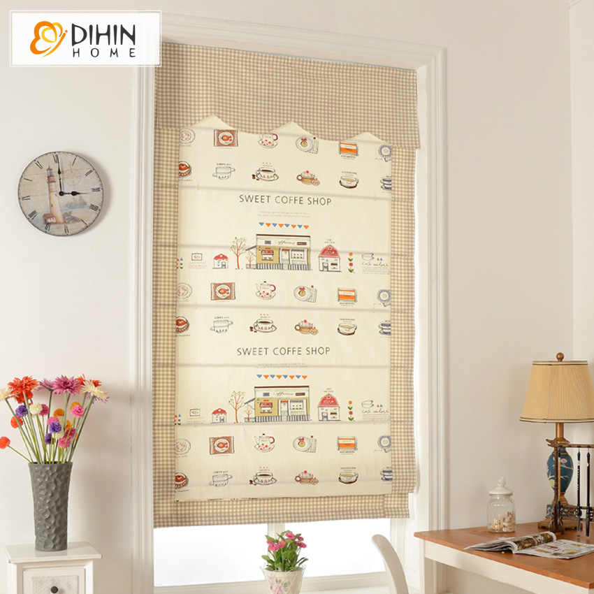 Included Curtains Cartoon Children Valance Cotton/Linen Rollor Blind Roman Shade Blinds Curtains For Living Room