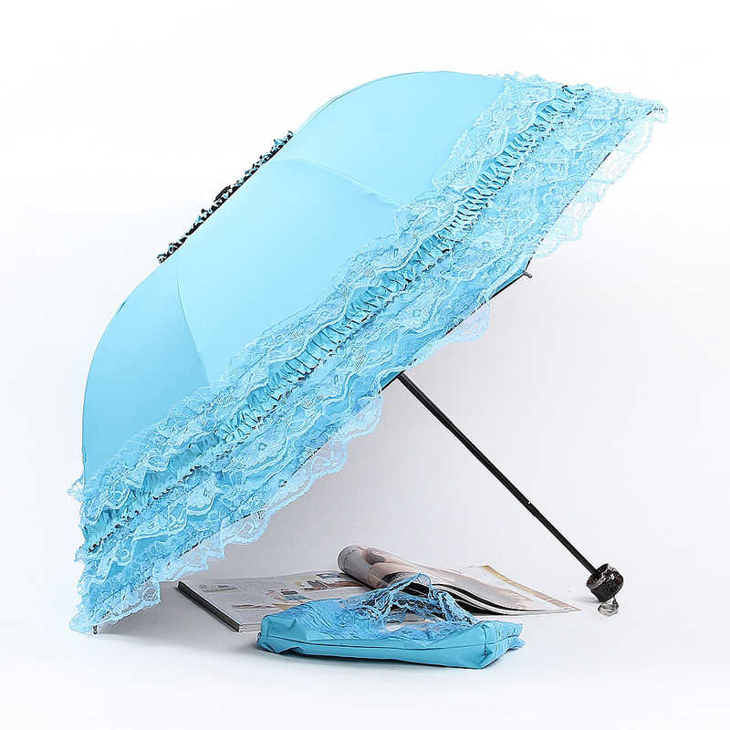 Kreative Koreanische Prinzessin Schirme Süße Spitze Weiblich Folding Sun Proof Regenschirm Rosa Blau Lila Regen Paraguas Dame Geschenk SP008