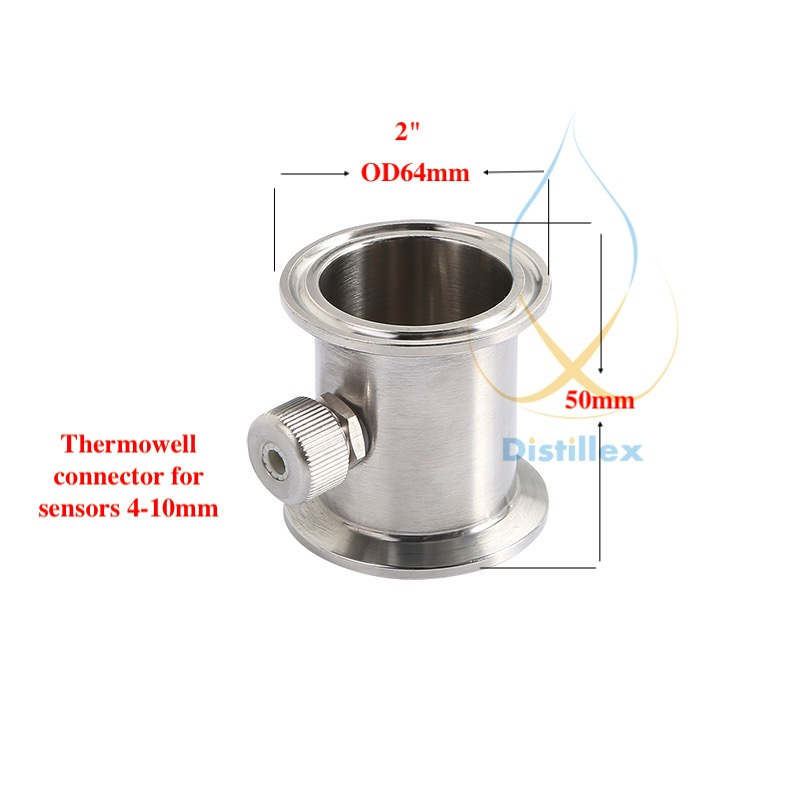"2"" OD64mm Tri-Clamp Thermowell Pipe, Connector For Sensors Diameter 4-10mm ,  Stainless Steel 304, Silicone Seal"