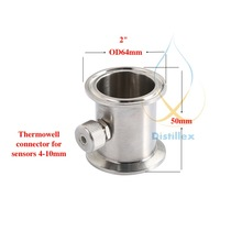 """2"""" OD64mm Tri Clamp Thermowell Pipe, connector for sensors diameter 4 10mm ,  Stainless Steel 304, Silicone Seal"""