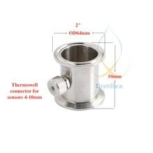 """Tubo termowell de 2 """"OD64mm de Tres abrazaderas, conector para sensores de diámetro de 4 10mm, acero inoxidable 304, sello de silicona"""