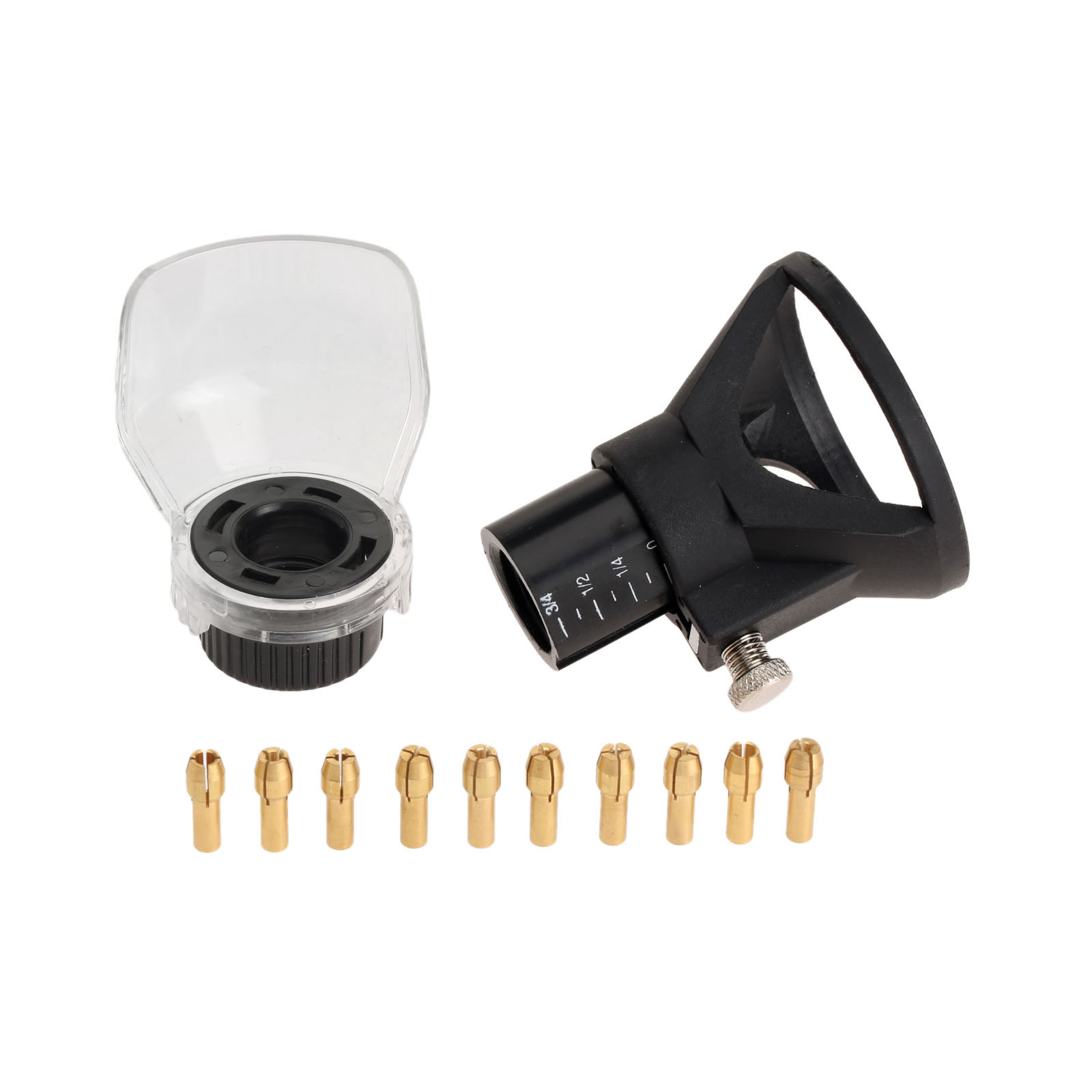 Dophee 12Pcs Dremel Accessories Rotary Tool Drill Dedicated Locator Horn +0.5-3.2MM Brass Collets Drill Chuck 4.3MM Shank +Cover