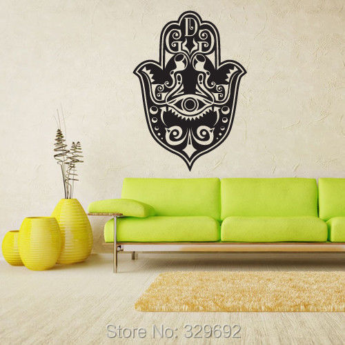 Wall Decal Vinyl Sticker Decals Hamsa Ganesh Om Hand Eye Indian wall stickers home decor size 56x90cm