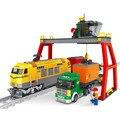792 pcs Super grande trem de carga blocos de construção da estação caminhão comboio / ferroviário / transporte guindaste brinquedo educativo crianças brinquedos