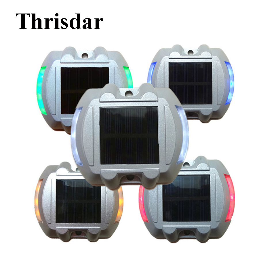 Thrisdar 5PCS Traffic Security Led Floor Step Light 6 LED Solar Pathway Marker Road Stud Light