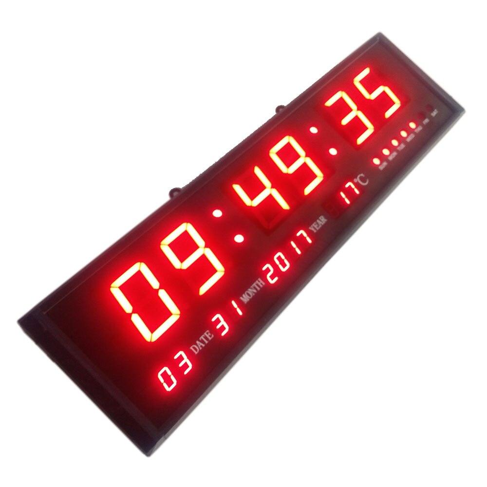 Grote Digitale Led Muur Moderne Klok Timer met Kalender Temperatuur ...