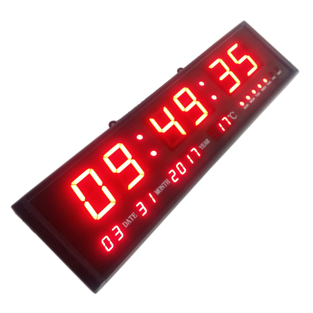Large digital led wall modern clock timer with calendar large digital led wall modern clock timer with calendar temperature for living room office meeting room in wall clocks from home garden on amipublicfo Image collections