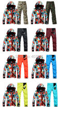 2017 mens top quality ski suit skiing snowboarding suit for men male magic cube ski jacket and colorful ski pants skating suit