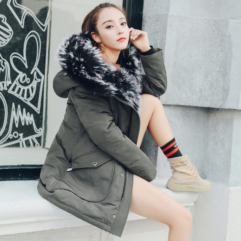 Large Fur Collar Down Jacket Men's Long Thick Plus Size Young Couple Installed Women Hooded Warm Winter Lovers   Parkas   MZ1972
