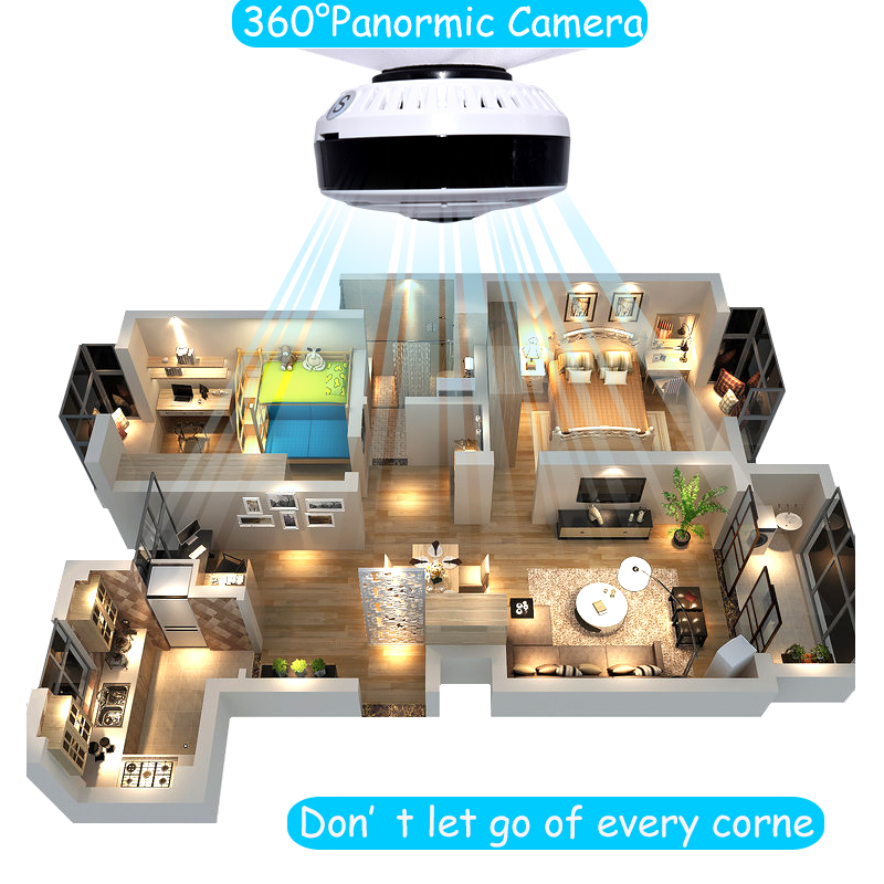Full HD 1080P 360 Degree Panoramic Fish Eyes Lens IP Wifi Camera Home Security 3D VR Cam Infrared Night Vision Mini Baby Monitor
