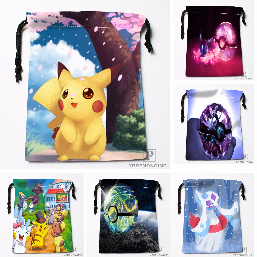 Custom Pokemon Pikachu Drawstring Bags Travel Storage Mini Pouch Swim Hiking Toy Bag Size 18x22cm#0412-04-212