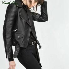 c29728912 Faux Leather Jacket Women Stud/rivet Moto Biker Zip Coats chaqueta ...