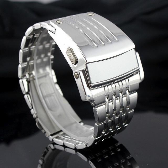 Electrónicos 2017 Nuevos Hombres Digital Pantalla Grande Reloj de Pulsera Estilo de Iron Man LED Relojes de Los Hombres del Relogio Banda de Acero Inoxidable militar