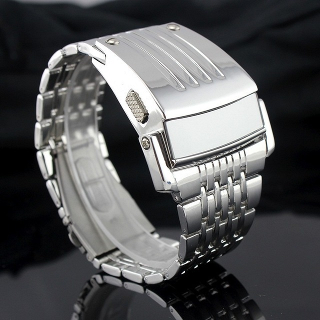 Electronic 2017 New Men Digital Big Wrist Watch Iron Man Style LED Display Watches Men's Stainless Steel Band Relogio Military