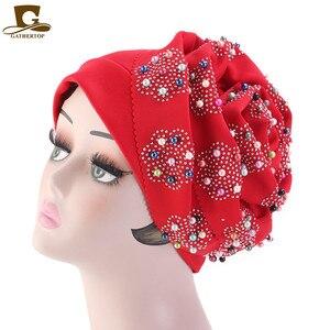 Image 4 - Fashion Women Luxury Muslim Hijab Beaded King Flower Turban Headwrap Chemo Turban Ladies Bandanas Hair Accessories