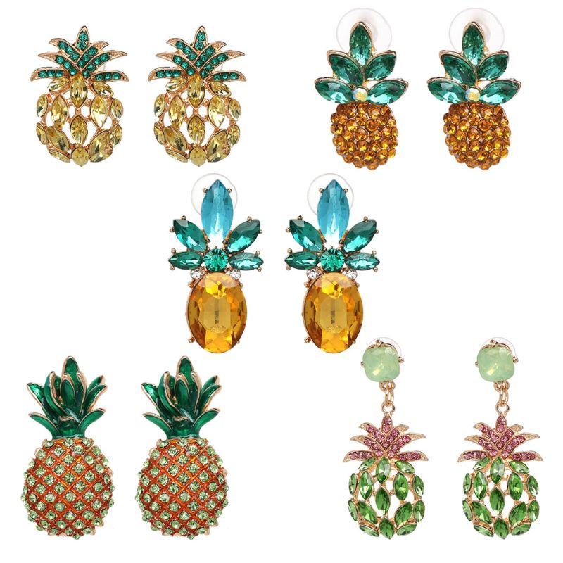 Creative Cute Summer Fruits Pineapple Crystal Earrings Women Hawaiian Vacation Beach Fashion Jewelry
