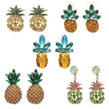 Creative Cute Summer Fruits Pineapple Crystal Earrings Women Hawaiian Vacation Beach Fashion Jewelry