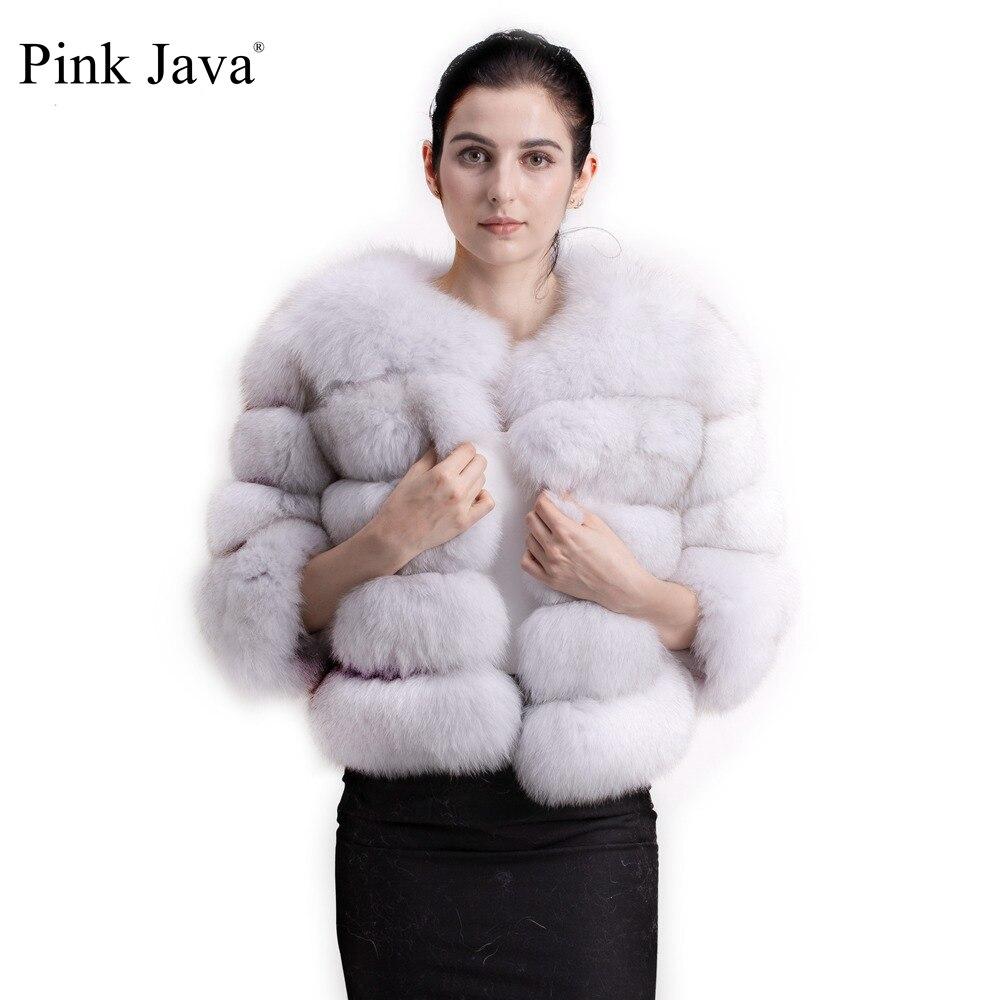 Pink Java QC1801 FREE SHIPPING Real Fox Fur Coat Women Winter Thick Fur Jacket Short Fur Coat Wholesale Genuine Fox Short Sleeve