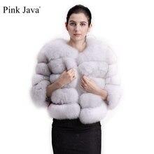 Rosa Java QC1801 cappotto di pelliccia di volpe reale di trasporto libero donne giacca di pelliccia spessa invernale cappotto di pelliccia corta manica corta di volpe genuina allingrosso