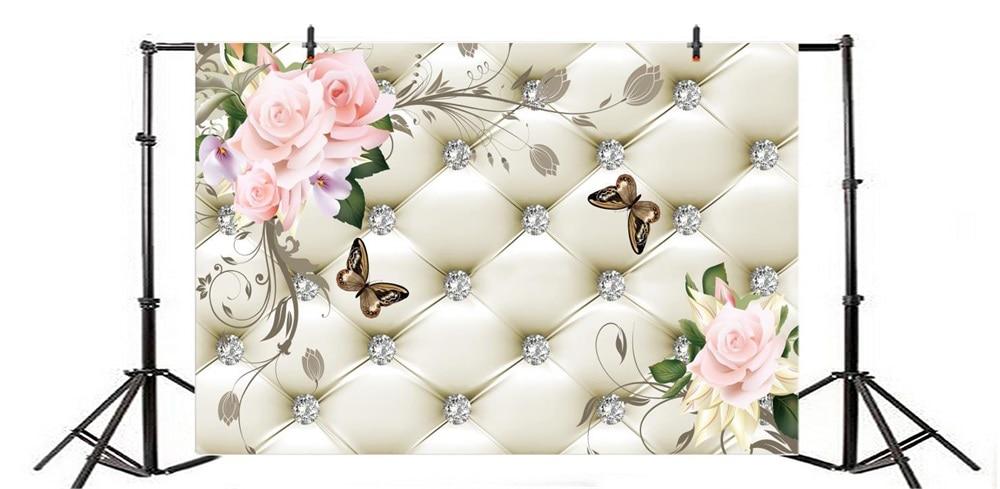 Laeacco Floral Bed Headboard Diamond Butterfly Scene Fundaluri - Camera și fotografia - Fotografie 4