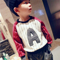Fashion Baby Girls Boys Striped Letter Long Sleeve Tops T Shirts Tee Toddler Kid Children Casual Pullover Crew Neck T-Shirts