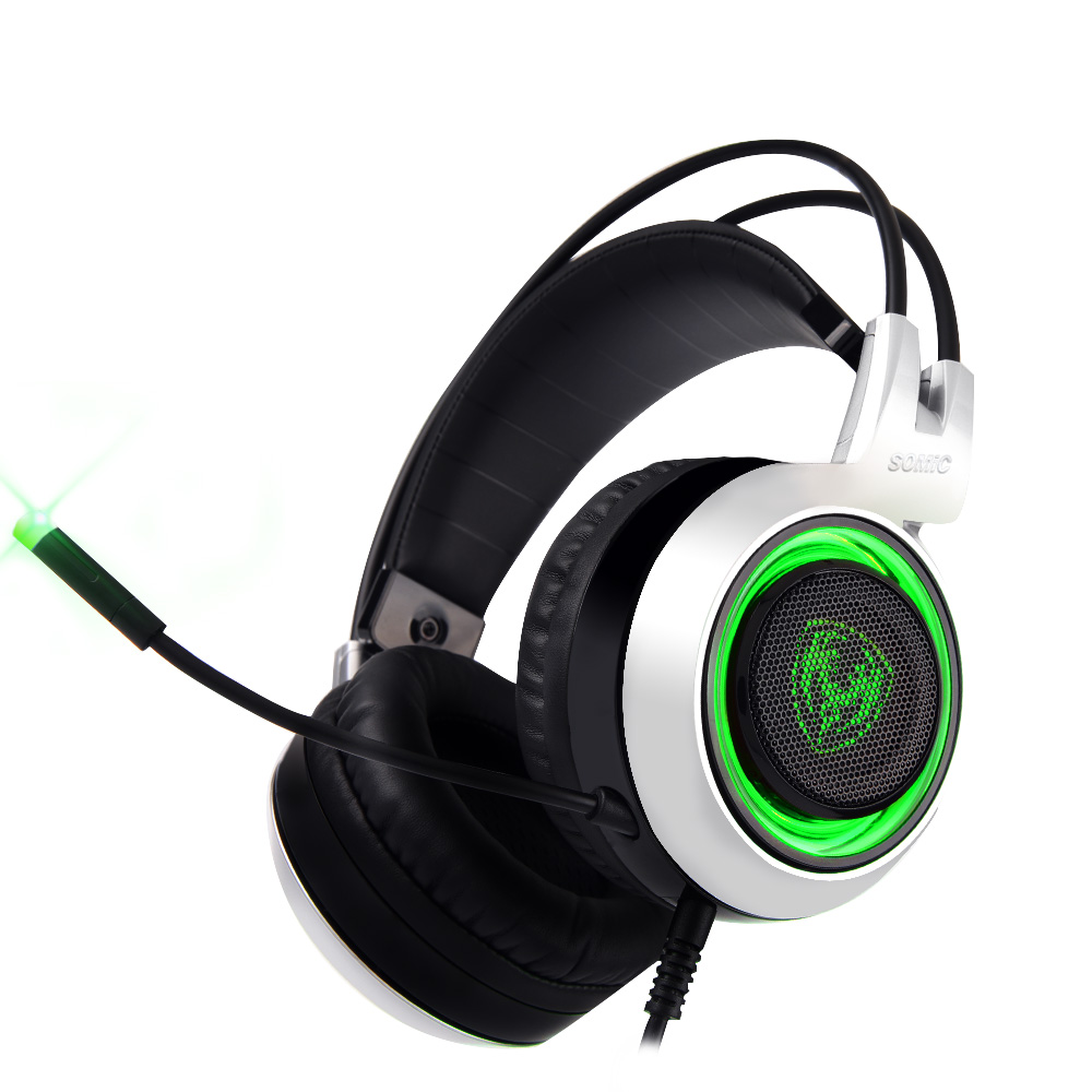 SOMIC G951 Original Gaming Headphone Deep Bass Stereo Sound USB Headband with Mic Vibration LED Computer Game Headset somic g910i gaming headset 7 1 surround sound vibration usb with mic bass headphone led light big earphones for computer ps4 pc