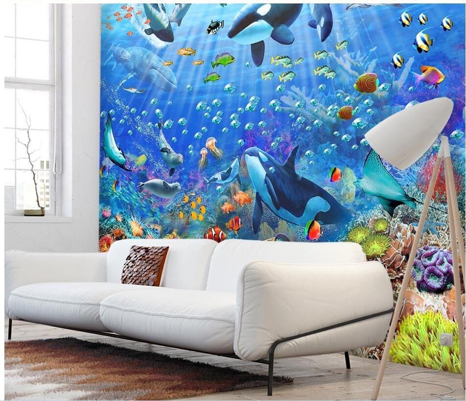 Benutzerdefinierte Mural Foto 3d Tapeten Blauen Ozean Unterwasserwelt Whale  Zimmer Dekor Malerei 3d Wandbilder Wallpaper Für Wand 3 D In  Benutzerdefinierte ...