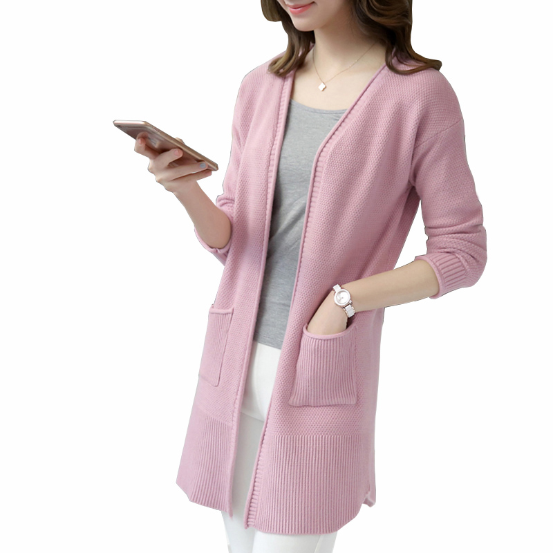 2017 autumn Sweater Cardigan Women winter Jacket Long Sweaters coat Female Casual Solid Knitted Tops Slim Jumper Knitwear QH0691