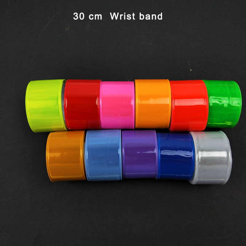 30CM Reflective Wristband Slap Band Bracelets Slap Wrap For Running Bicycle Riding Road Safety Visibility
