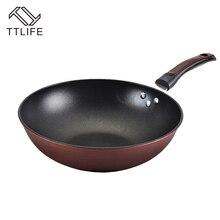TTLIFE 32 cm 34 cm Capa antiadherente Sartén Wok Sartén Profunda alta Calidad El Uso de Utensilios de Fondo Plano para el Gas y la Inducción cocina