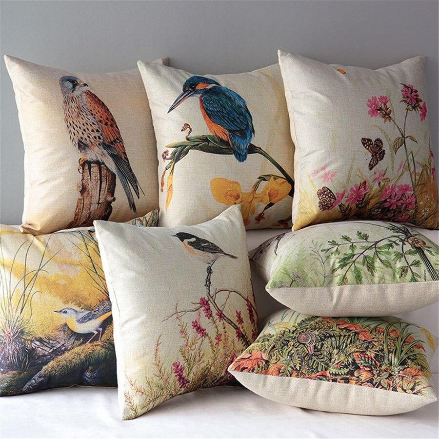 ᐃ18 cuadrado selva pájaro algodón Cojines sofá decorativo Mantas ...