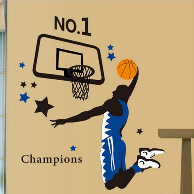 Free Shipping Basketball Player Dunk Sports Wall Decal Sticker Home ...
