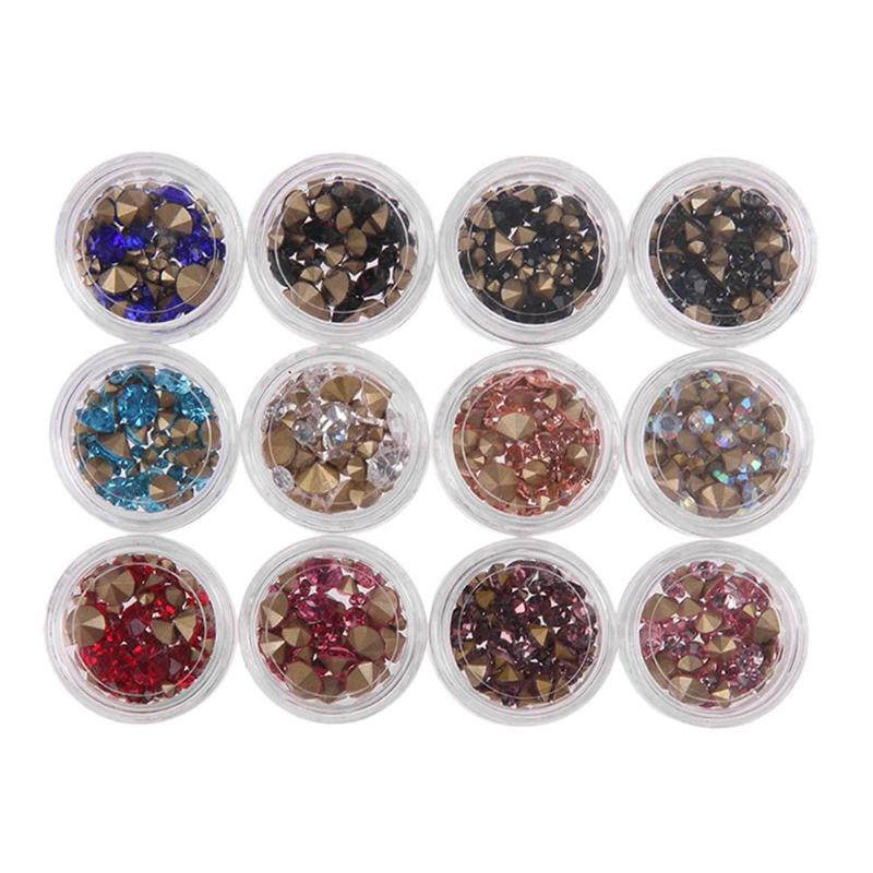 12 Boxes Nail Rhinestones 3D Nail Decoration Colorful Mixed Gems Manicure Nail Art Decorations 0 8mm 20000pcs colorful mini nail art beads gardient rhinestones 3d tip decoration for nail uv gel manicure nail art decorations