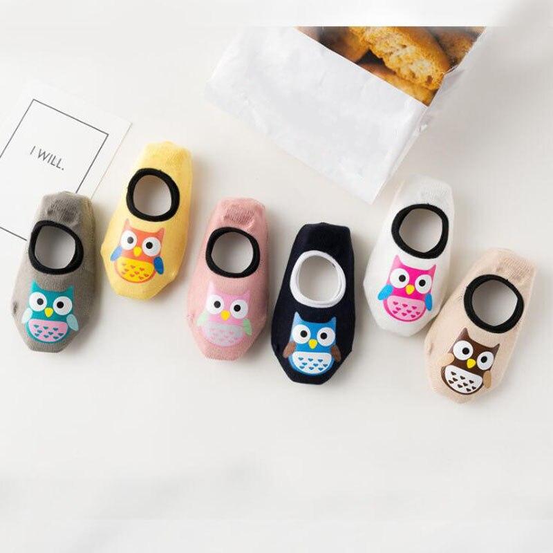 2018 New Cartoon Owl Baby Toddler Socks Cotton Non-slip Baby Floor Socks