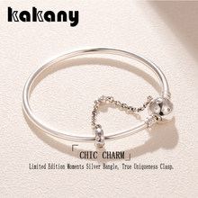 Kakany 925 Sterling Silver Limited Edition Moments Silver Bangle, True Uniqueness Clasp High Quality 1:1 Women's Fashion Jewelry(China)