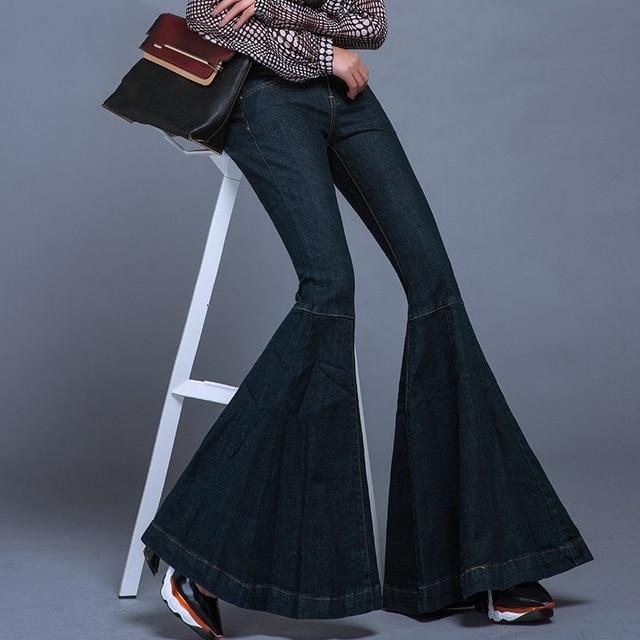 185573753840e 2016 New Spring Mid Waist Jeans Vintage Big Flare Pants Women Wide Leg Long Denim  Trousers Slim Bell Bottom Jeans W434