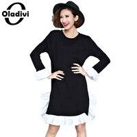 Oladivi Women Long Sleeve Plus Size Top Tee 2017 Spring Casual Ladies Ruffle Dress Black White