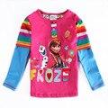 Outono Meninas anna elsa Dos Desenhos Animados T-shirt de Manga Longa Meninas Camiseta de Algodão Crianças Blusa Princesa Camisa Criança Tops enfant