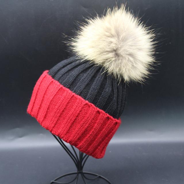 Pom Pom Gorro de Invierno Sombrero de Piel Mujer de Sombrero de Invierno Cálido Tapas Del Capó Damas de Punto de Lana Sombreros Calientes