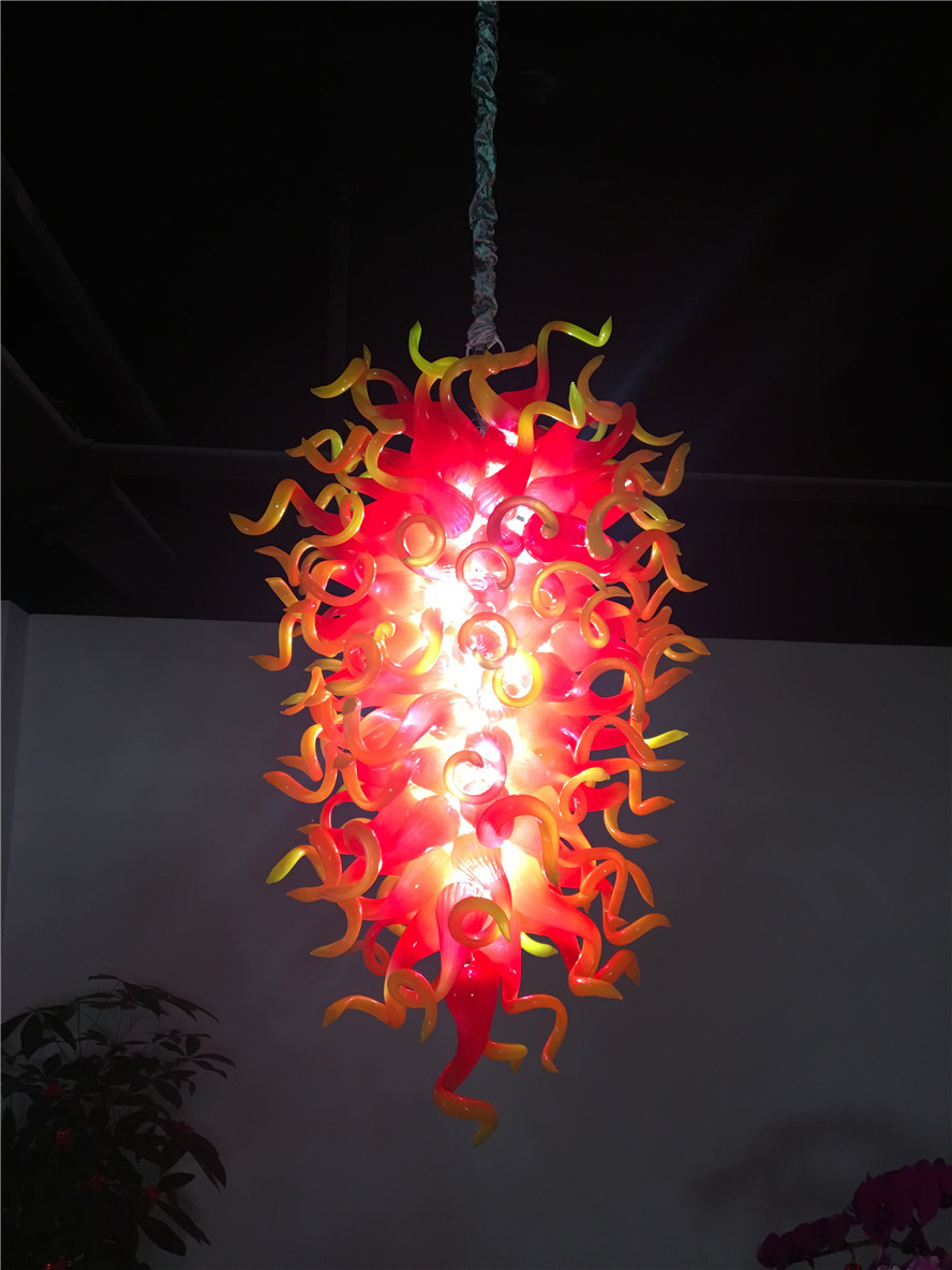 Luxury Red and Yellow Crystal Chandelier Modern LED Light Hand Blown Glass Chandelier for New House Decoration|Chandeliers| |  -