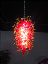 Luxury Red and Yellow Crystal Chandelier Modern LED Light Hand Blown Glass for New House Decoration