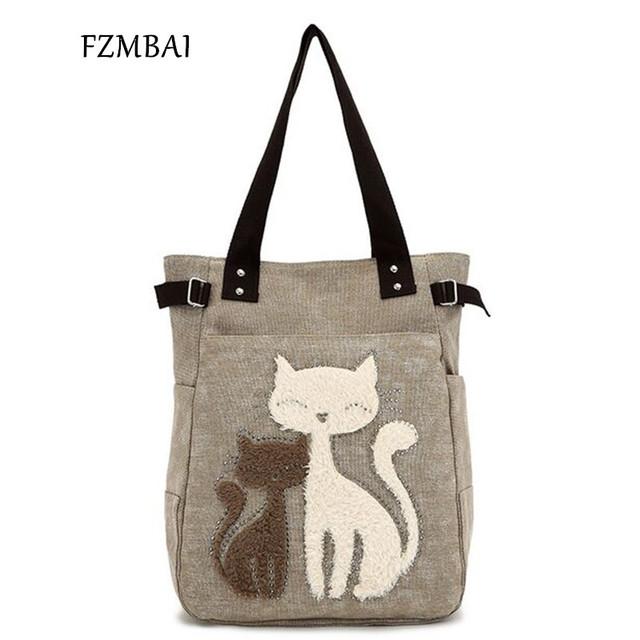 FZMBAI 2017 Fashion Women's Handbag Cute Cat Tote Bag Lady  Canvas Bag Shoulder bag
